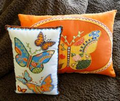 Set of 2 Yellow Orange and Blue Butterfly by thebeadedpillow, $100.00