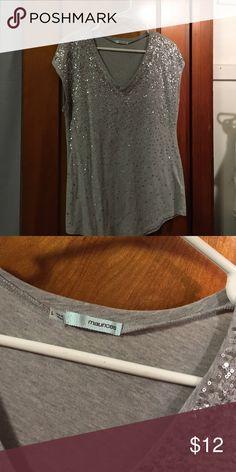 Sequin top Cute light gray sequin top Maurices Tops