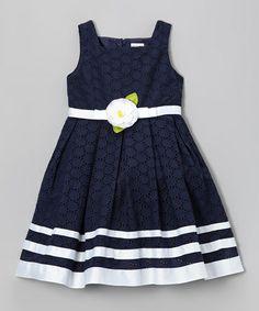 Look at this #zulilyfind! Navy Ribbon Eyelet Dress - Toddler & Girls by Sweet Heart Rose #zulilyfinds