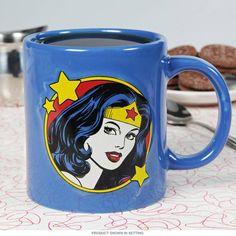 Wonder Woman Embossed Face Large Coffee Mug | Superhero Coffee Mugs | RetroPlanet.com