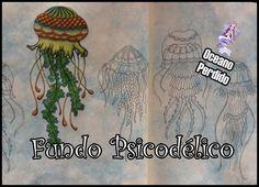 Livro de Colorir Oceano Perdido - Fundo Psicodélico | Luciana Queiróz