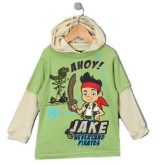 Disney Toddler Boys Jake Pirates Tee Shirt Layered Hooded  Long Sleeve 3T 4T nwt #Disney #EverydayBirthday