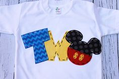 Mickey mouse birthday shirt two girl boy t by CodyandKait Mickey Mouse Birthday Shirt, Mickey Party, Minnie Mouse, Second Birthday Ideas, 2nd Birthday, Applique, Mouse Parties, Disney Parties, Boy Birthday Parties