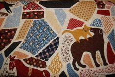 FF64 Williamsburg Folk Art Quilt Patchwork Cat Dog Bird Horse Cotton Fabric Quilt Fabric