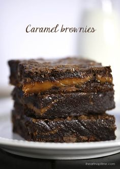 Chocolate Fudge Caramel Brownies   Super simple with box brownies or your favorite homemade recipe.