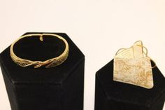 Damascene-Gold-Cuff-Bracelet-Anframa-10mm-wide-Floral-and-Bird-Motif-Tagged