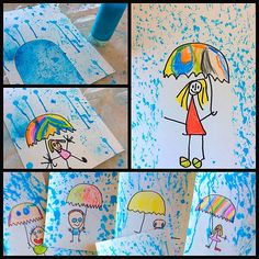 This splatter-paint project is great for integrating art into your study of rain / weather. Diy For Kids, Crafts For Kids, Arts And Crafts, Spring Art, Spring Crafts, Autumn Activities, Art Activities, Hedgehog Craft, Classroom Art Projects