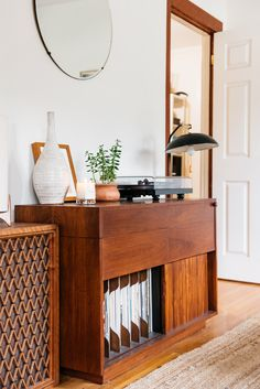 Ready For A Refresh? Designer Jessica Comingore Answers 5 Home Decor FAQs Home Office, Record Player Stand, Record Cabinet, Vinyl Record Storage, First Home, Home Decor Inspiration, Storage Spaces, Decoration, Sweet Home