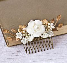 FREE SHIP Bridal Hair Piece Wedding Hair Comb Bridal Hair Accessories Vintage Bridal Something Old Shabby Chic Wedding Hair Accessories. $99.00, via Etsy.
