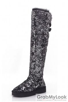 Knee Length Sequined Glitter Long Flat Boots