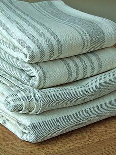 French Linen Quality Huckaback Bath Sheet Cream by LinenbyInga