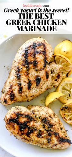 THE BEST GREEK CHICKEN MARINADE WITH GREEK YOGURT | foodiecrush.com This easy chicken marinade infuses chicken of any cut with the classic Greek flavors of lemon, garlic and oregano plus Greek yogurt for a more tender bite. #recipes #greek #chicken #marinade #gyros #marinade #yogurt #greekyogurt
