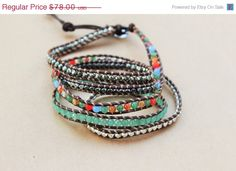 Summer SALE Five Wrap Leather Bracelet - Brown Suede Leather And Multicolored Bead Pyrite Five Wrap Bracelet - Bohemian Jewelry - Boho Chic