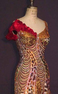 Beauty and the Beast closeup Latin Ballroom Dresses, Dance Dresses, Latin Dresses, Ballroom Costumes, Dance Costumes, Glamorous Outfits, Rhinestone Dress, Just Dance, Gold Dress