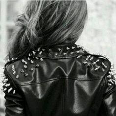 Studded Spiked Collar Biker Jacket Leather