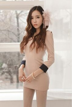 Pink 3/4 Sleeves Simple Regular Fit Round Neck Dress with Zip ate The Back - $58.16 Mini Dresses, Sexy Dresses, Cute Dresses, Korean Fashion Summer, Open Toe Shoes, Asian Woman, Eye Candy, Zip, Lady