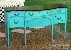 Distressed Turquoise Sideboard - Getting ready to do this exact same project! Might not be so turquoise though. A little lighter blue and more antique glaze. Distressed Furniture, White Furniture, Furniture Plans, Furniture Makeover, Furniture Decor, Painted Furniture, Painted Sideboard, Painted Tables, Furniture Market