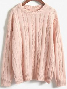 Pink Round Neck Vintage Cable Knit Sweater , High Quality Guarantee with Low Price!