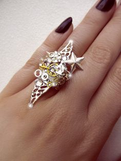 Steampunk ring silver steampunk boho ring by CindersJewelryDesign