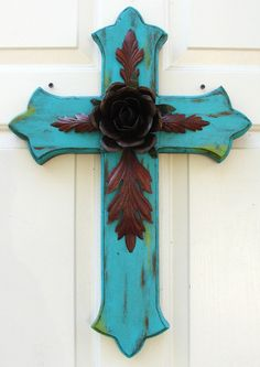 Large Turquoise Wood Cross with Rustic Rose by DiaMorDecor, via Etsy.