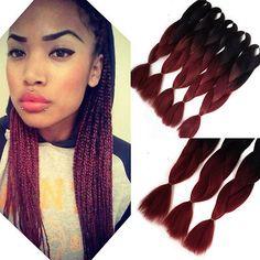 1pc black Burgundy Kanekalon Jumbo Braiding Hair 24'' African Synthetic 100g/pc