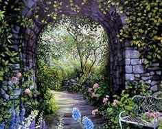 a dream garden and walk ~ Wallpapers Man Walkng Afternoon Walk Arch Art Bench Entrance Flowers Garden