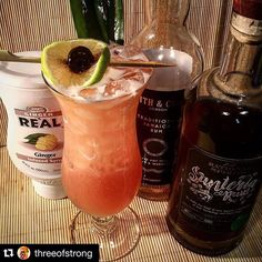 #Repost @threeofstrong with @repostapp.I saw on these days some pics of Jungle Birds and I also need to make mine: Smith&Cross and Santeria rums, Campari, lime and pineapple juices and a special touch of Ginger Re'al 😎  #rum #rhum #ron #threeofstrong #campari #smith&cross #santeria #rationalspirits #lostspirits #gingerreal #realingredients #abm #junglebird #tiki #tikidrinks #cocktail #rumdrinks #jamaica #charleston #usa