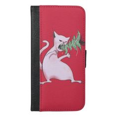 Funny Fat White Cat Eats Christmas Tree iPhone 6/6s Plus Wallet Case - cyo diy customize unique design gift idea