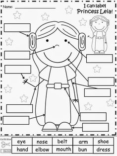 Free: Princess Leia from Star Wars Label Sheet.  Have your students cut and glue the label words for Princess Leia.  Freebie For A Teacher From A Teacher! Enjoy! fairytalesandfictionby2.blogspot.com