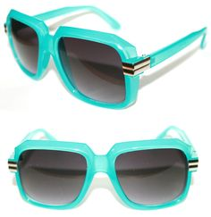 82295b476849 Mens Vintage 607 Hip Hop Sunglasses Run DMC Old School Teal Blue Gazelle  Vintage