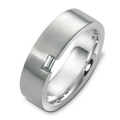 18k white gold men's band set with one baguette diamond in a contemporary modern style. Designed and created by Joseph Jewelry | Seattle, WA | Bellevue, WA | Online | Design Your Own Wedding Ring | #weddingring