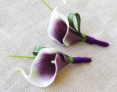 Purple Heart Picasso Silk Calla Lily Wedding Boutonniere  - Tropical GRASS Wedding Boutonniere  - Calla Color Choices