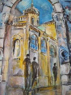 Oil Painting Toropets Russia Arches Columns Impressionist Painting Signed | eBay