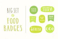 Healthy food badges by kondratya on @creativemarket