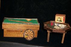 Vintage Dollhouse Rec Room Furnture Pool Poker Tables Dart Board TV