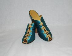 1940s Daniel Green Teal Blue Satin Slippers  by IntimateRetreat, $95.00