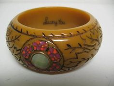Carved Bangle Bracelet Vintage Bakelite Plastic w Stones New