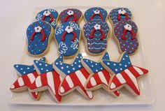 Celebrate July Party with some delicous and decorative Patriotic Day Sugar cookies. Here are the best Patriotic Day Sugar cookies decoration ideas. Blue Cookies, Summer Cookies, Star Cookies, Royal Icing Cookies, Iced Cookies, Happy 4 Of July, Fourth Of July, I'm Happy, Flip Flop Cookie