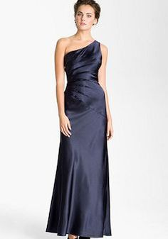 Fancy Satin One Shoulder With Ruching A line Evening Dresses - 1300258260B - US$99.49 - BellasDress