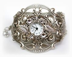 Silver Watch Women Victorian Unique Watches Gothic Steampunk Watch Ladies Watch Floral Filigree Watch Women Watches Victorian Jewelry