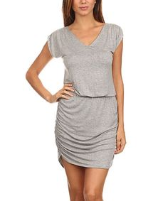 Loving this Gray Ruched Blouson V-Neck Dress on #zulily! #zulilyfinds