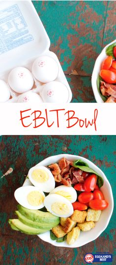 Switch up your traditional BLT and create this delicious EBLT bowl that includes EB hard cooked eggs and avocados!