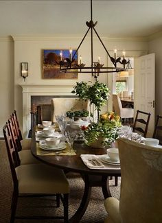i can admire big dining rooms but nothing feels more inviting than a cozy one this dining room has the perfect scale and a fireplace is always a plus - Used Dining Room Chairs