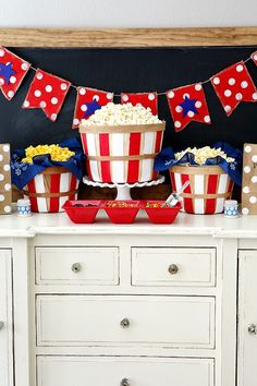 Fourth of July Popcorn Bar - this is just too much fun! Love this party decor!