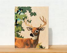 "Stag Paint by Number Large Art Block -  8"" x 10"", vintage, woodland, deer. $49,00, via Etsy."