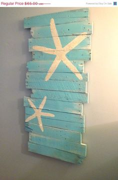 20 OFF Beach and Starfish Reclaimed Wood 24 x 43 by WoodburyCreek, $52.00