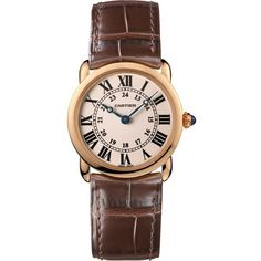CARTIER Ronde Louis Cartier 18ct pink-gold and alligator small watch ($9,975) ❤ liked on Polyvore featuring jewelry, watches, cartier jewellery, pink gold watches, cabochon jewelry, rose gold watches and alligator jewelry