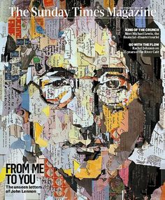 The Sunday Times Mag (UK) Portrait John Lennon, by London-based artist, Ian Wright.  It was built by tearing up copies of letters (unpublished) written by John Lennon himself.