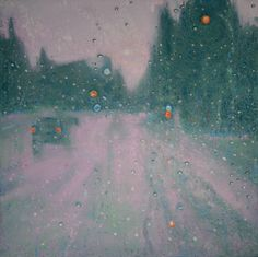 Rain on the windshield makes a fine mist that creates a sparkling veil between you and the rest of the world.  oil on linen ​16 x 16 x 1 1/2 inches