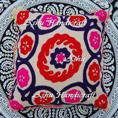 16'' Indian Cotton Embroidery Suzani Design Pom Pom Decor Cushion Pillow Cover k #AshuHandicraft #ArtDecor